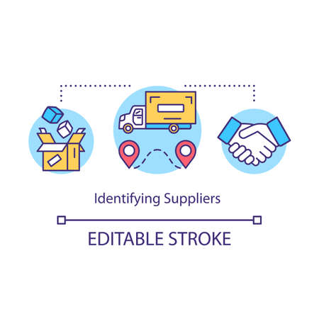 Indentifying suppliers concept icon. Local production system idea thin line illustration. Delivery of products. Logistics and distribution. Vector isolated outline drawing. Editable stroke Illusztráció