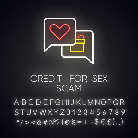 Credit-for-sex scam neon light icon. Sexual favours. Dating, hookup fraud. Internet, web love scam. Cyber extortion. Glowing sign with alphabet, numbers and symbols. Vector isolated illustration