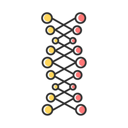DNA double helix color icon. Connected dots, lines. Deoxyribonucleic, nucleic acid structure. Spiral strands. Chromosome. Molecular biology. Genetic code. Genetics. Isolated vector illustration Illustration