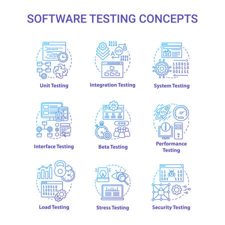 Software testing concept icons set. System perfomance verification idea thin line illustrations. Program development stages. Reliability, stability. Vector isolated outline drawings. Editable stroke