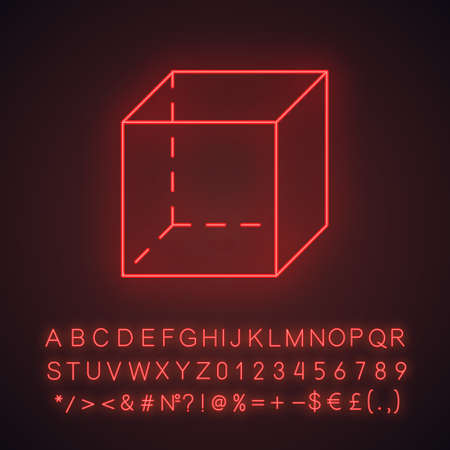 Cube neon light icon. Geometric cut figure. Decorative graphic element. Abstract shape. Isometric form in perspective. Glowing sign with alphabet, numbers and symbols. Vector isolated illustration Ilustração