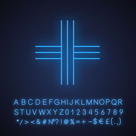 Cross neon light icon. Straight parallel stripes. Geometric figure. Decorative element. Abstract shape. Isometric form. Glowing sign with alphabet, numbers and symbols. Vector isolated illustration