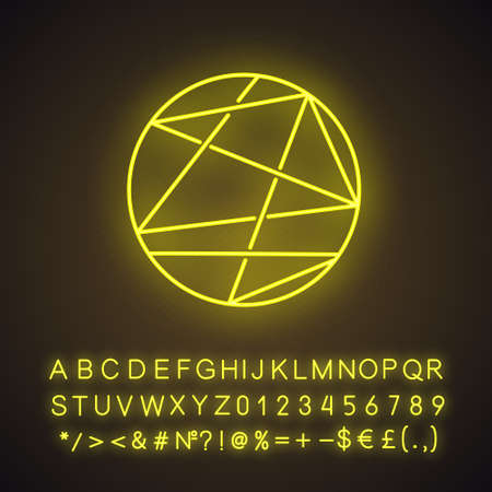 Round figure neon light icon. Lines enclosed in sphere. Geometric figure. Abstract shape. Isometric form. Glowing sign with alphabet, numbers and symbols. Vector isolated illustration Ilustração