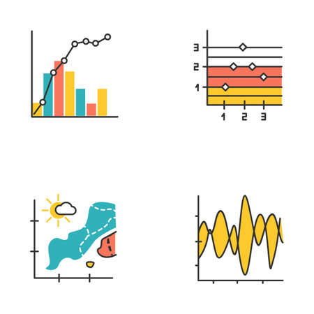 Chart and graph color icons set. Temperature map. Point and figure chart. Seismic activity presentation. Mixed graph with histogram and linear elements. Vibration curve. Isolated vector illustrations
