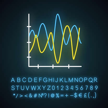 Stream graph neon light icon. Seismic chart. Amplitudes, motion waves. Radiation curve diagram. Vibration visualization. Glowing sign with alphabet, numbers and symbols. Vector isolated illustration Imagens - 134836382