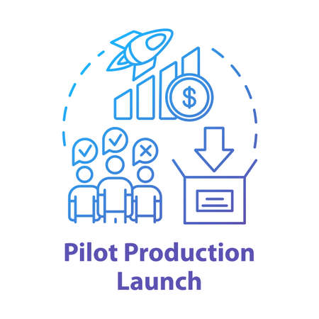 Pilot production launch concept icon. Startup. Strategic management. Business team. Collaboration. Start new business idea thin line illustration. Vector isolated outline drawing