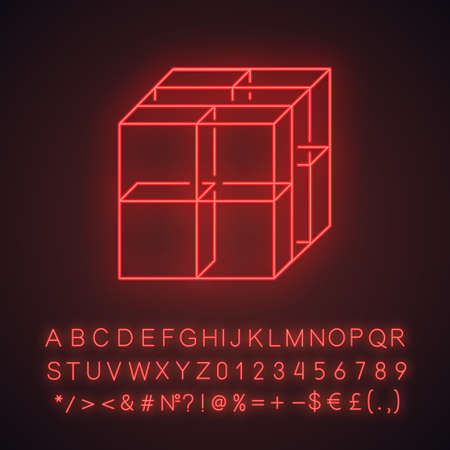 Cube neon light icon. Geometric gridded figure. Graphic abstract shape. Polygonal element. Complex isometric form. Glowing sign with alphabet, numbers and symbols. Vector isolated illustration