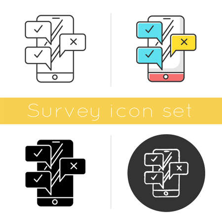 Chat icon. Online survey. Smartphone instant messaging. Interview through email. Correct, incorrect. Right and wrong option. Flat design, linear and color styles. Isolated vector illustrations Illustration
