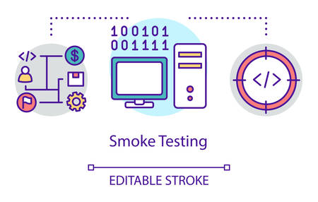 Smoke testing concept icon. Build verification idea thin line illustration. Software testing process. Indicating issues and problems. Vector isolated outline drawing. Editable stroke