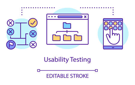 Usability testing concept icon. Real users interaction idea thin line illustration. Software testing process. Indicating issues and problems. Vector isolated outline drawing. Editable stroke
