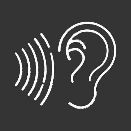 Icône de craie de signal sonore. Idée d'onde sonore audible. Oreille à l'écoute. Forte perception du bruit. Appel vocal, susceptibilité sonore. Capacité auditive. Signal audio audible. Illustration de tableau de vecteur isolé
