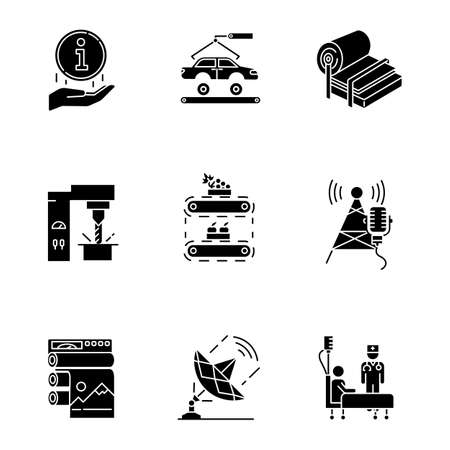 Industry types glyph icons set. Information sign. Automotive production. Pulp and paper. Steel industry. Fruit supply. Broadcasting. Healthcare. Silhouette symbols. Vector isolated illustration Ilustracja