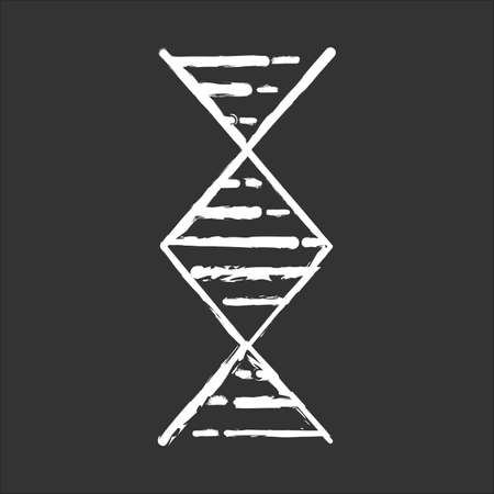 Diamond-shaped DNA helix chalk icon. Deoxyribonucleic, nucleic acid structure. Spiraling strand. Chromosome. Molecular biology. Genetic code. Genome. Genetics. Isolated vector chalkboard illustration Иллюстрация