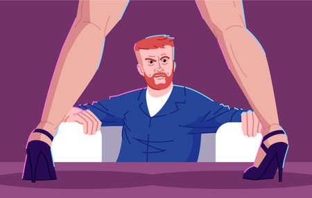 Ilustración de vector plano de adicción sexual. Trastorno fisiológico hipersexual. Erotomanía, trastorno mental, obsesión. Hombre brutal en club nocturno viendo striptease show personaje de dibujos animados Ilustración de vector