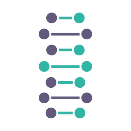 DNA spiral chains violet and turquoise color icon. Connected dots, lines. Deoxyribonucleic, nucleic acid helix. Spiral strands. Chromosome. Molecular biology. Genetic code. Genetics. Isolated vector illustration Illustration