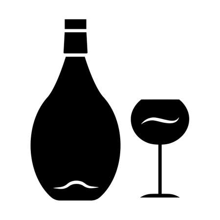 Wine glyph icon. Alcohol bar. Bottle and wineglass. Alcoholic beverage. Restaurant service. Glassware for red wine. Silhouette symbol. Negative space. Vector isolated illustration