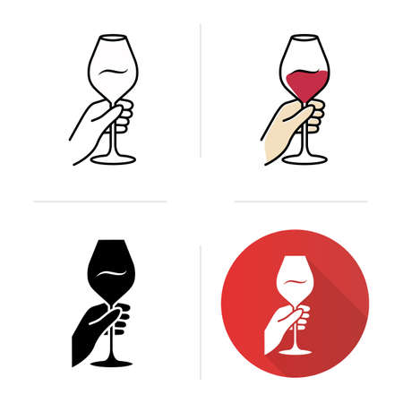 Barman holding glass of wine icons set. Winery, sommelier. Alcohol beverage, aperitif drink. Wineglass, glassware. Flat design, linear, black and color styles. Isolated vector illustrations Ilustração