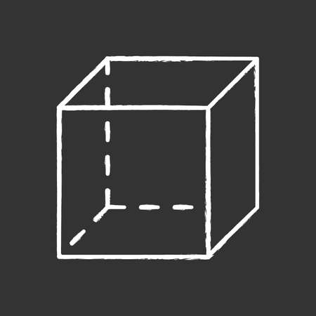 Cube chalk icon. Geometric transparent figure. Dimensional model with square sides. Decorative graphic element. Abstract shape. Isometric form in perspective. Isolated vector chalkboard illustration Standard-Bild - 134811220