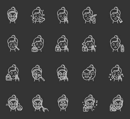 Conjunto de iconos de tiza de procedimientos de cuidado de la piel. Usando crema facial. Mascarilla líquida, en láminas, peel-off. Productos de belleza. Rutina nocturna. Tratamiento localizado. Suero de vitamina C. Ilustraciones de pizarra vector aislado Ilustración de vector