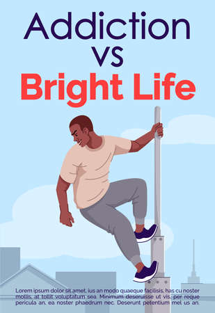Addiction vs bright life brochure template. Adrenaline dependency risks. Flyer, booklet, leaflet concept with flat illustrations. Vector page cartoon layout for magazine with text space