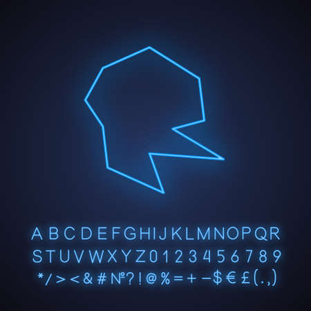 Geometric figure neon light icon. Abstract shape. Isometric form. Broken fractal. Spot with sharp corners. Glowing sign with alphabet, numbers and symbols. Vector isolated illustration