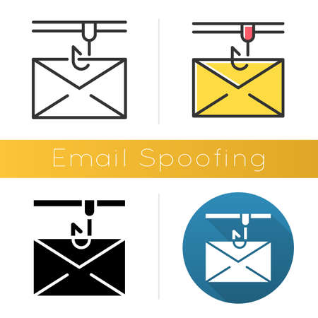 Email spoofing icon. Illegitimate business. Forged sender. Spamming. Fake email header. Mail phishing. Cybercrime. Flat design, linear and color styles. Isolated vector illustrations Stock Illustratie