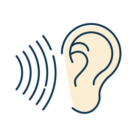 Sound signal color icon. Audible soundwave idea. Listening ear. Loud noise perception. Voice call, sound susceptibility. Hearing ability. Hearable audio signal. Isolated vector illustration