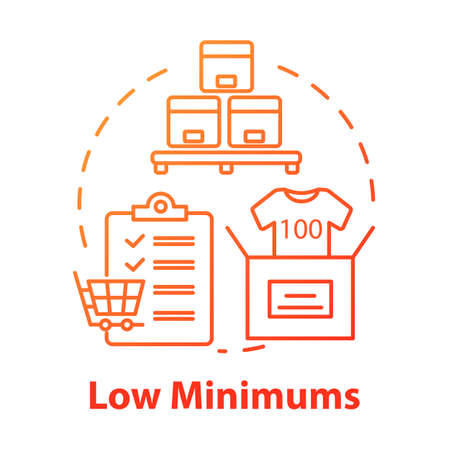 Low minimums concept icon. Risk management. E commerce. Shipping service. Logistics. Purchase and delivery of goods idea thin line illustration. Vector isolated outline drawing