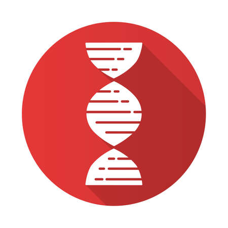 DNA double helix red flat design long shadow glyph icon. Deoxyribonucleic, nucleic acid. Chromosome. Molecular biology. Genetic code. Genome. Genetics. Medicine. Vector silhouette illustration