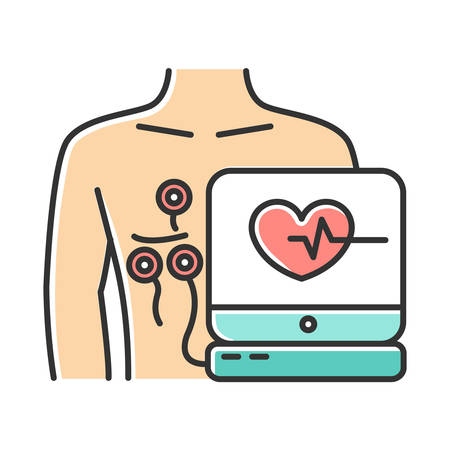 Electrocardiogram color icon. Heart disease examination. Pulse rate on screen. Cardiology, cardiograph. Medical nonsurgical procedure. Professional clinical aid. Isolated vector illustration