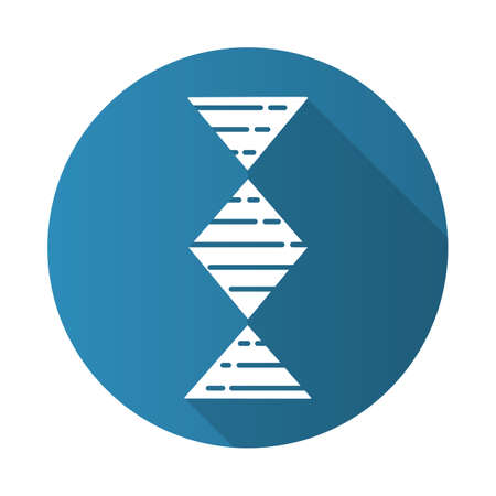 Diamond-shaped DNA helix blue flat design long shadow glyph icon. Deoxyribonucleic, nucleic acid. Spiraling strand. Chromosome. Molecular biology. Genetic code. Vector silhouette illustration Иллюстрация