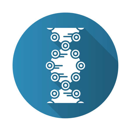 DNA strands blue flat design long shadow glyph icon. Connected circles, lines. Deoxyribonucleic, nucleic acid helix. Chromosome. Molecular biology. Genetic code. Vector silhouette illustration