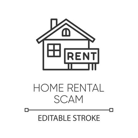 Home rental scam linear icon. House, apartment for rent. Fake real estate agent. Online fraud. Upfront payment. Thin line illustration. Contour symbol. Vector isolated outline drawing. Editable stroke