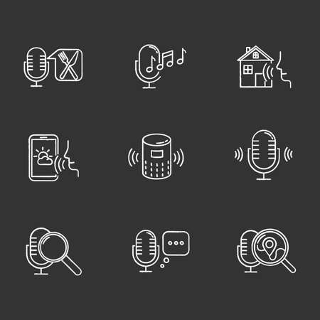 Voice control system chalk icons set. Sound requests idea. Different microphones. Music recognition, sound record. Virtual asisstance, standart voice commands. Isolated vector chalkboard illustrations Standard-Bild - 134811460
