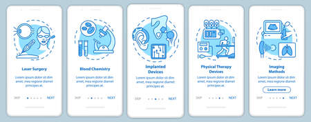 Biomedical engineering onboarding mobile app page screen with linear concepts. Blood chemistry. Five walkthrough steps graphic instructions. Laser surgery. UX, UI, GUI vector template, illustrations 版權商用圖片 - 134811576