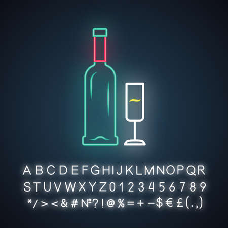 Open bottle and glass of champagne neon light icon. Sparkling wine. Aperitif, alcohol beverage, drink. Winery, wineglass. Glowing sign with alphabet, numbers and symbols. Vector isolated illustration 向量圖像