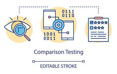 Comparison testing concept icon. Finding differences idea thin line illustration. Software testing process. Indicating issues and problems. Vector isolated outline drawing. Editable stroke Illusztráció