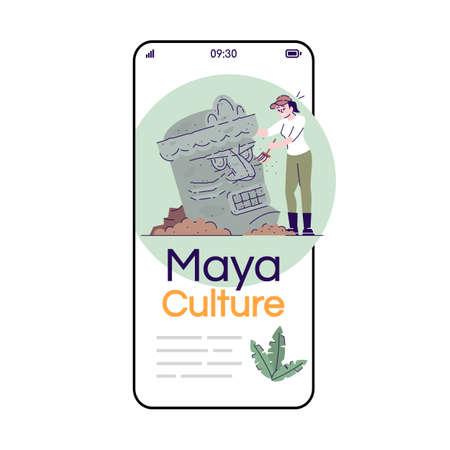 Maya culture social media posts smartphone app screen. Mobile phone displays with cartoon characters design mockup. Archeological excavations. Ancient civilization application telephone interface Vektoros illusztráció