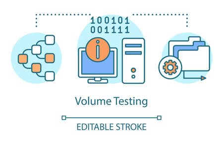 Volume testing concept icon. Examine program sound idea thin line illustration. Software testing process. Indicating issues and problems. Vector isolated outline drawing. Editable stroke