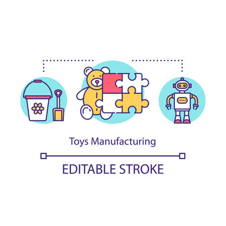 Toys manufacturing concept icon. Local production idea thin line illustration. Small bussiness. Products for kids. Children entertainment. Vector isolated outline drawing. Editable stroke