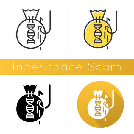 Inheritance scam icon. Fake benefactor. Distant relative trick. Financial fraud. Illegal money gain. Phishing. Fraudulent scheme. Flat design, linear and color styles. Isolated vector illustrations Illustration