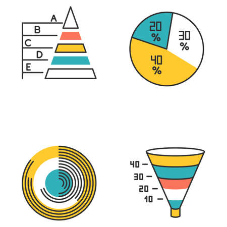 Chart and graph color icons set. Pie diagram. Pyramid chart. Polar watch. Funnel infographic. Marketing conversion strategy. Business model, economic report. Isolated vector illustrations