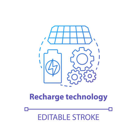Recharge technology blue gradient concept icon. Sun batteries idea thin line illustration. Modern accumulators, power units. Innovative energy source. Vector isolated outline drawing. Editable stroke Illusztráció