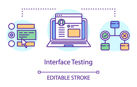 Interface testing concept icon. Examine program design idea thin line illustration. Software testing process. Indicating issues and problems. Vector isolated outline drawing. Editable stroke