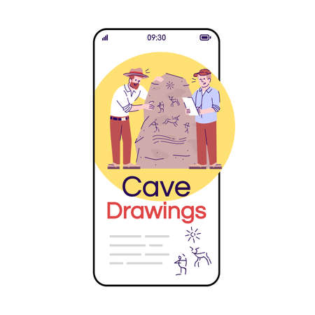 Cave drawings social media posts smartphone app screen. Mobile phone displays with cartoon characters design mockup. Archaeology. Caveman culture researching application telephone interface 일러스트