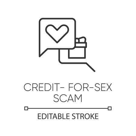 Credit-for-sex scam linear icon. Sexual favours. Dating, hookup fraud. Internet love scam. Cyber extortion. Thin line illustration. Contour symbol. Vector isolated outline drawing. Editable stroke