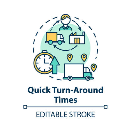 Quick turn around times concept icon. Delivery service. Freight transportation. Logistics. Transport of goods idea thin line illustration. Vector isolated outline drawing. Editable stroke
