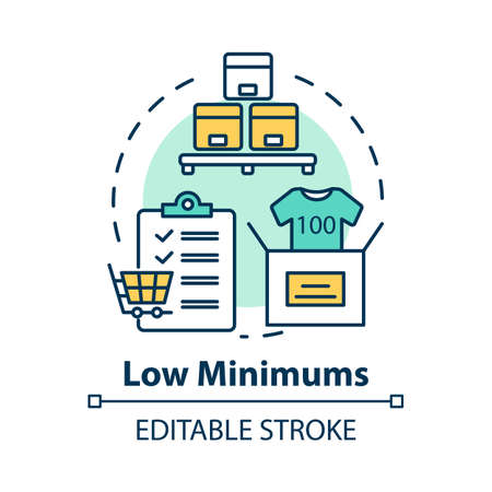 Low minimums concept icon. Risk management. E commerce. Shipping service. Logistics. Purchase and delivery of goods idea thin line illustration. Vector isolated outline drawing. Editable stroke