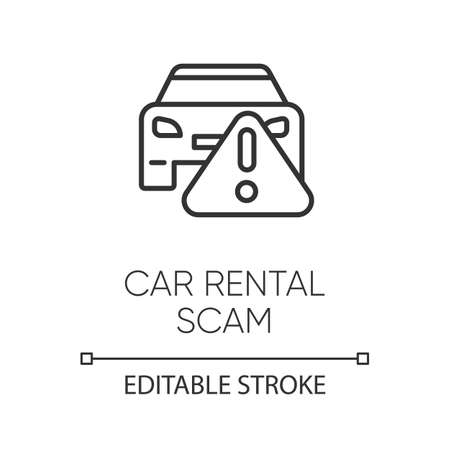 Car rental scam linear icon. Low upfront payment. Fake insurance fee. False vehicle hire deal. Financial fraud. Thin line illustration. Contour symbol. Vector isolated outline drawing. Editable stroke