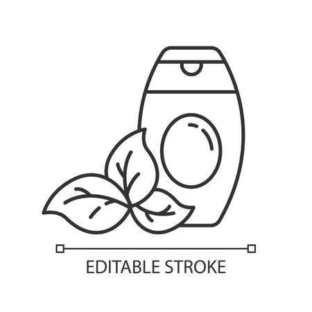 Shower gel bottle linear icon. Bubble bath. Body wash. Beauty product. Shampoo. Haircare. Organic cosmetics. Thin line illustration. Contour symbol. Vector isolated outline drawing. Editable stroke  イラスト・ベクター素材